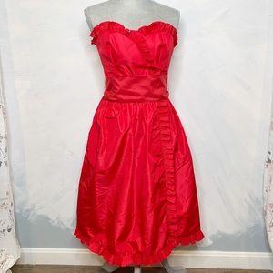 Vintage Victor Costa Red Taffeta Holiday Dress